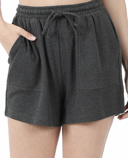 On the Go Cotton Shorts -Charcoal