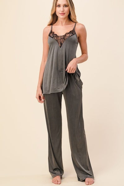 Giving You Everything Silky Pants - Charcoal
