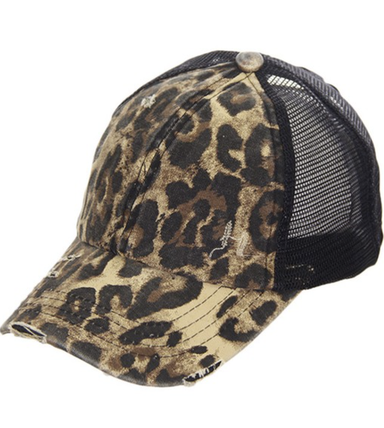 CC Mesh  Hat With Ponytail Animal and Black