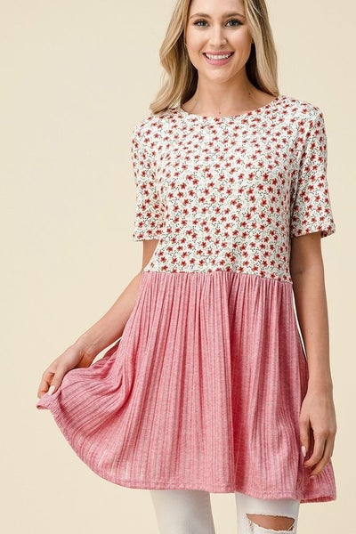 So Sweet Baby Doll Short Sleeve Floral Top - Pink