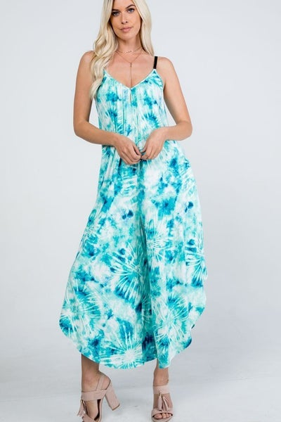 I Got to Have You Tie Dye Jumpsuit - Mint