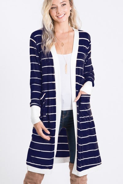 A Girl Like You Striped Cardigan - Navy