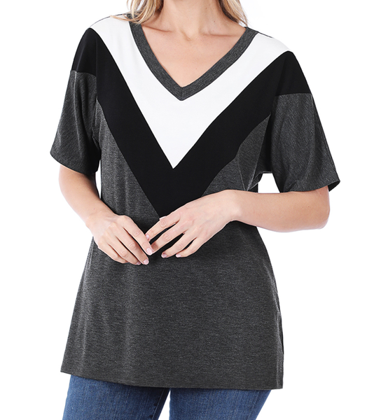 Deal of the Day!! Live Out Loud Chevron Top - Charcoal