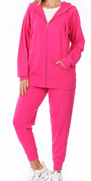 Anything Goes Terry Raglan Zip-Up Jogger Set - Hot Pink