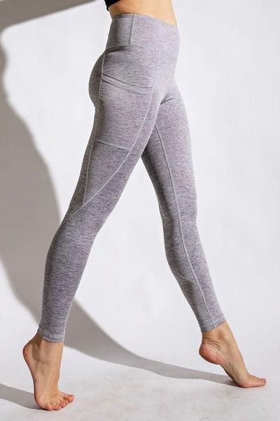 Premium Legging With Phone Pocket - Light Grey