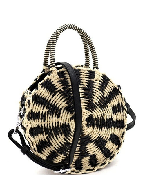 Straw Woven Purse - Black & White