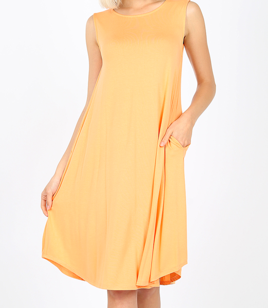 Your Favorite Getaway Tank Dress - Peach