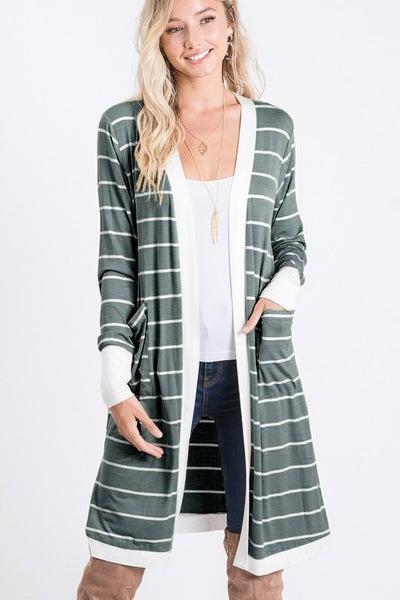 A Girl Like You Striped Cardigan - Grey