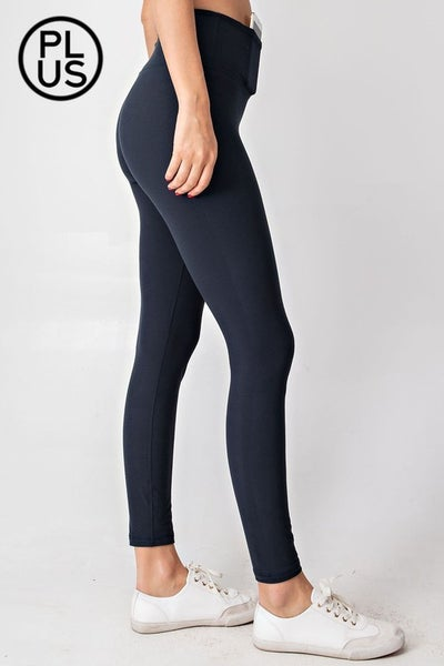 Premium Athletic Support Leggings with Phone Pocket -Navy