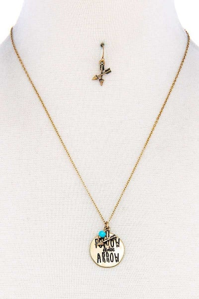 Follow Your Arrow Pendant Necklace and Earring Set