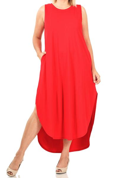Brave Heart Tank Maxi Dress - Ruby