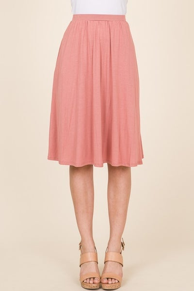 Casual Mid Length Skirt - Pink