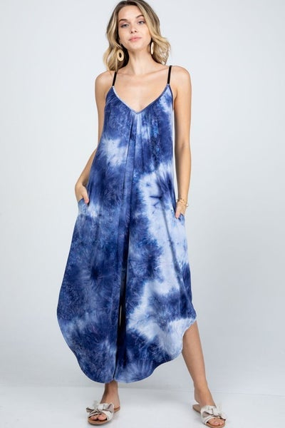 I Got to Have You Tie Dye Jumpsuit - Navy