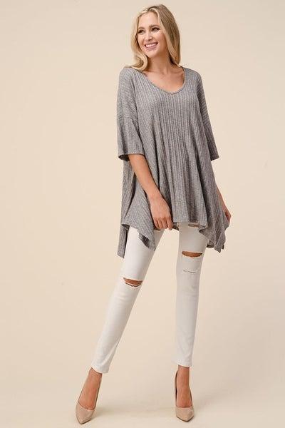 Nothing Like You Short Sleeve Top - Grey