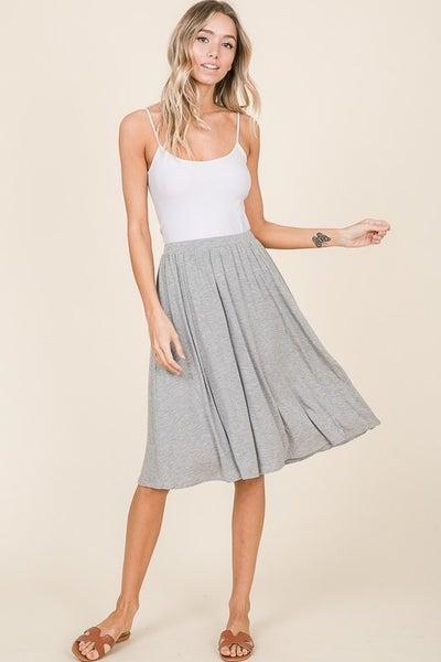Casual Mid Length Skirt - Grey