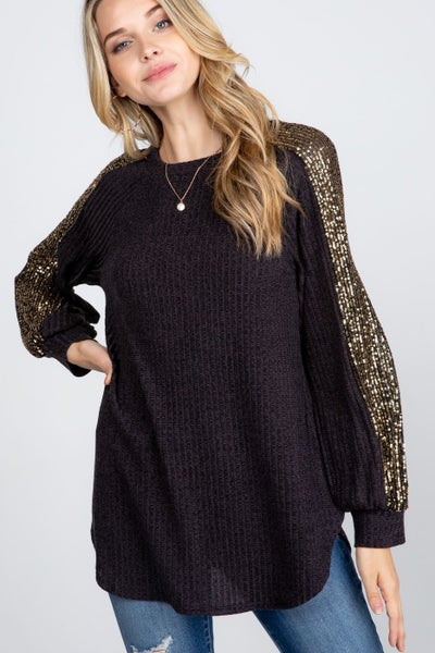 Your Time To Shine Long Sleeve Top - Black