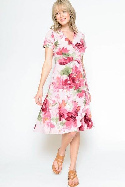Sunshine Garden Floral Wrap Dress