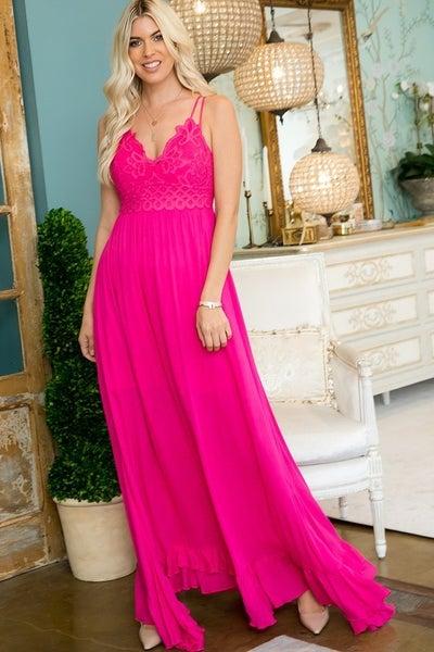 Won't Take You for Granted Lace Maxi Dress - Fuschia