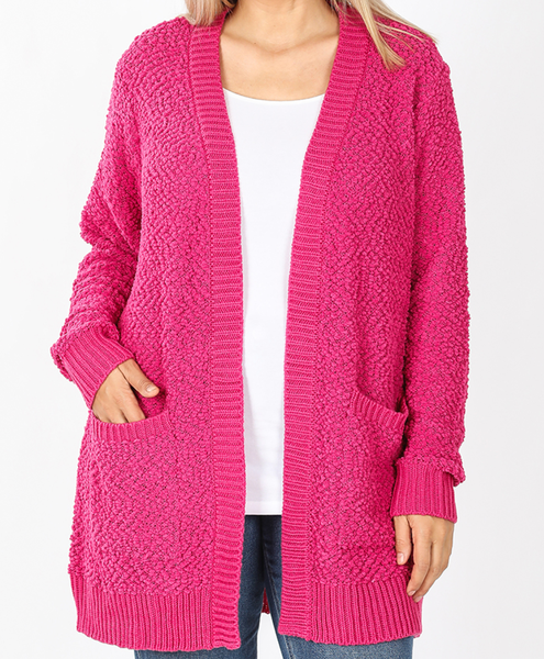 She's All That Pop Corn Cardigan - Hot Pink