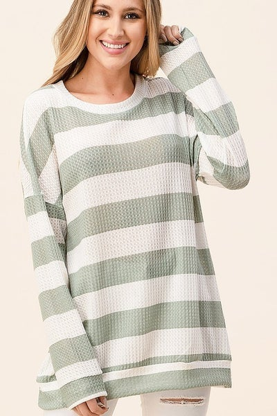 My New Love Waffle Knit Long Sleeve Top - Sage