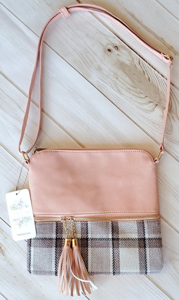 Vegan Leather Pink Plaid Purse
