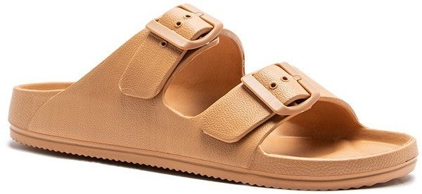 Jelly Buckle Strap Slide Sandal - Tan
