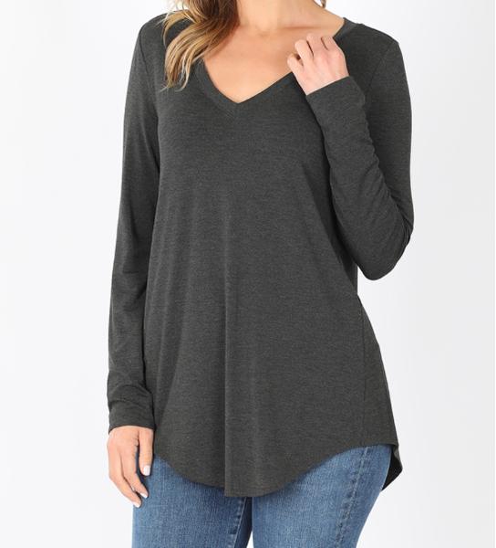 Comfort V-Neck Long Sleeve - Charcoal