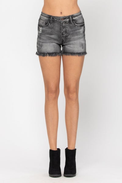 On The Go  Frayed Hem Judy Blue Shorts