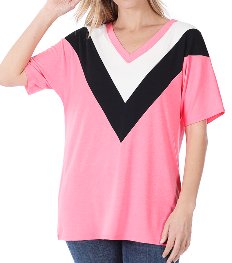 Deal of the Day!! Live Out Loud Chevron Top - Pink