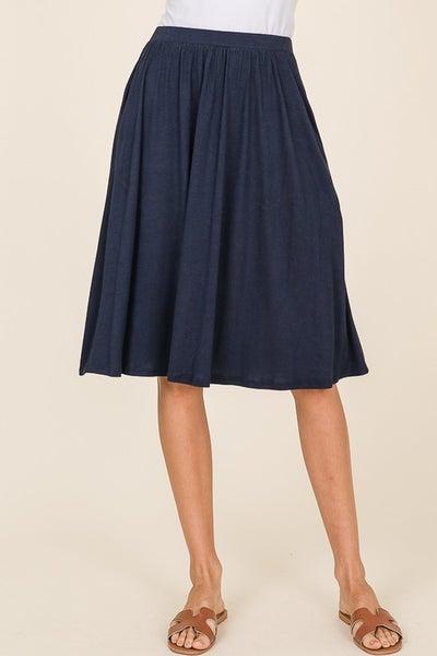 Casual Mid Length Skirt - Navy