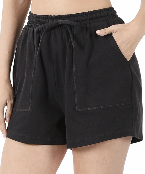 On the Go Cotton Shorts -Black