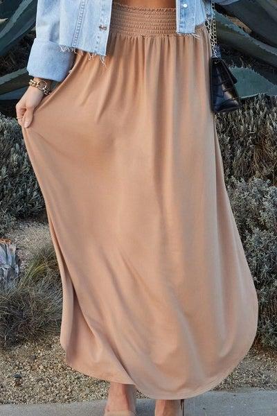 We Go Together Maxi Skirt - Camel