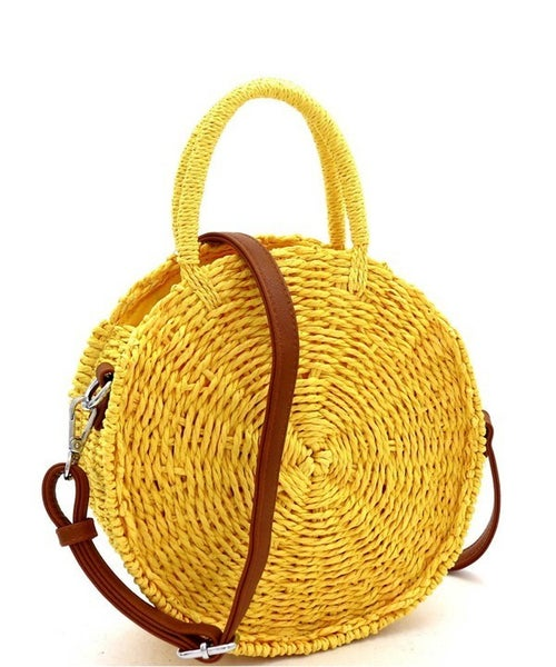 Straw Woven Purse - Yellow