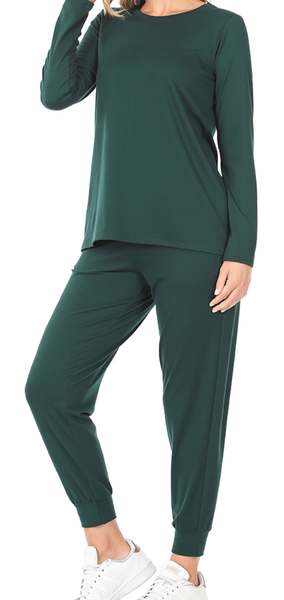 Seize the Day Jogger Set - Hunter Green