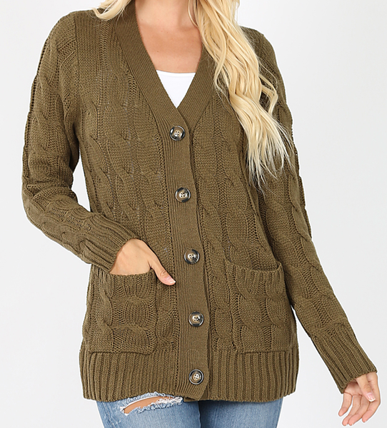 Won't Change My Mind Knitted Cardigan - Olive