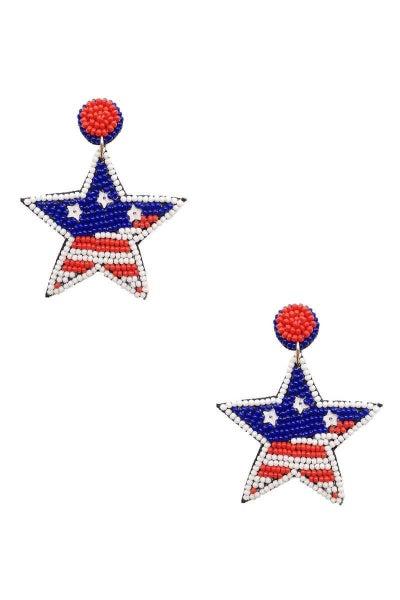 USA Star Dangle Earrings
