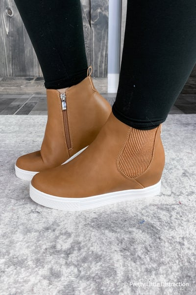 Faux Leather Sneaker Wedge
