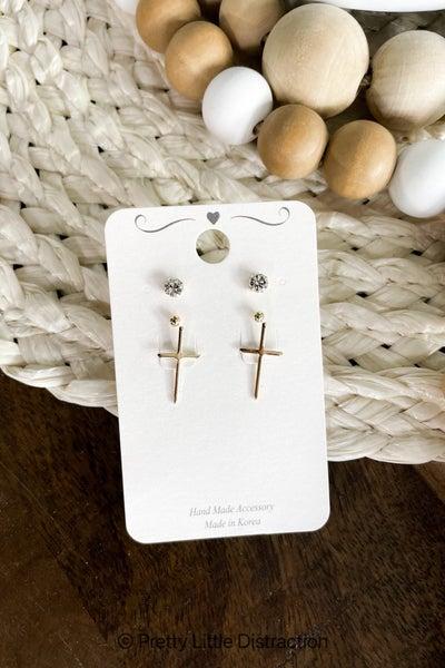 Cross and CZ Earring Set