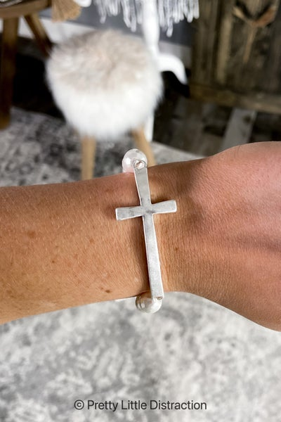 Curved Cross Bracelet
