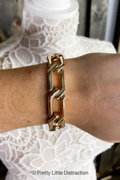 Gold Hexagon Chain Bracelet