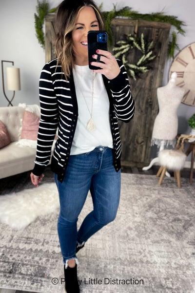 Striped Button Cardigan