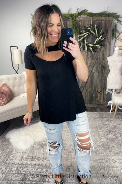 Cut Out Short Sleeve Top