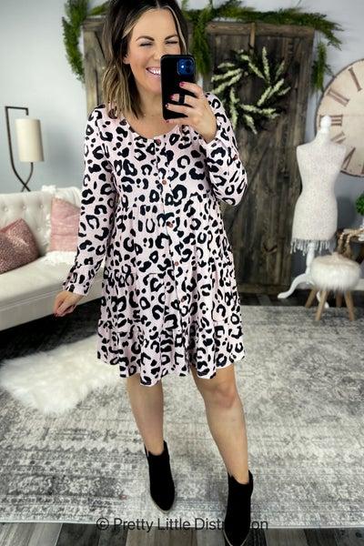 Mauve Leopard Tiered Dress
