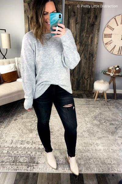 Heather Pom Detail Sweater