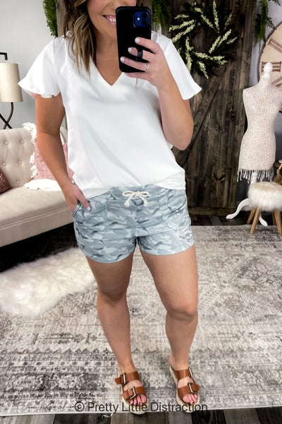 Elastic Waist Camo Shorts