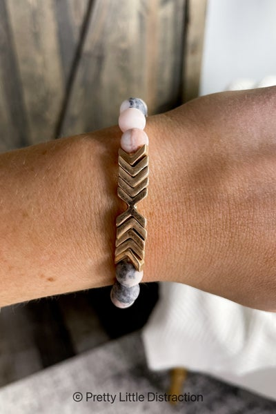 Chevron and Stone Bracelet