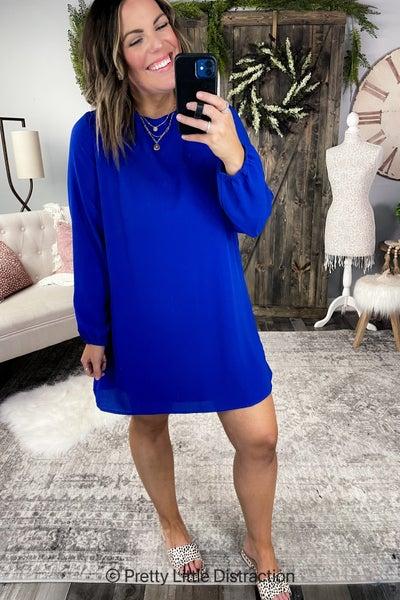 Cutout Back Long Sleeve Dress