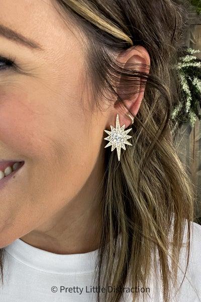 Large Starburst Crystal Earrings