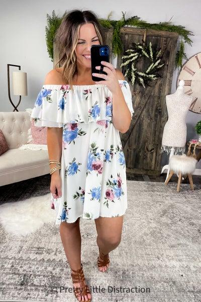 Floral Ruffled Off Shoulder Dress