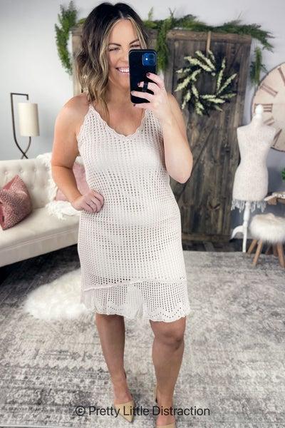 Taupe Crochet Dress